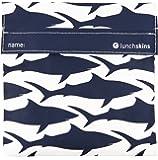 Lunchskins Reusable Velcro Sandwich Bag, Navy Blue Shark