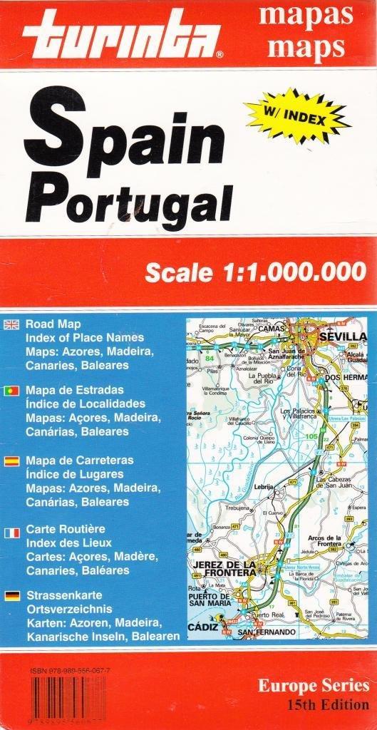 Turinta Espanha Portugal Mapa De Estradas Indice De Localidades