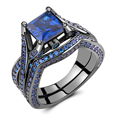 caperci black sterling silver 925 princess cut created blue sapphire solitaire wedding engagement ring set - Blue Sapphire Wedding Ring Sets