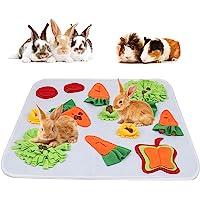 "GINDOOR 24"" x 24"" Rabbit Foraging Mat, Interactive Feed Game for Boredom, Polar Fleece Pet Snuffle Pad Bed Treat…"
