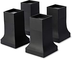 """Bed Risers, Set of 4 with Adjustable Height from 4"""" to 6"""", Matte Black - Stylish, Modern Furniture Lifters with Non-Scratch, Non-Slip Rubber Foot - Extra-Tall Bed Lifts for Couch, Chair, Table"""