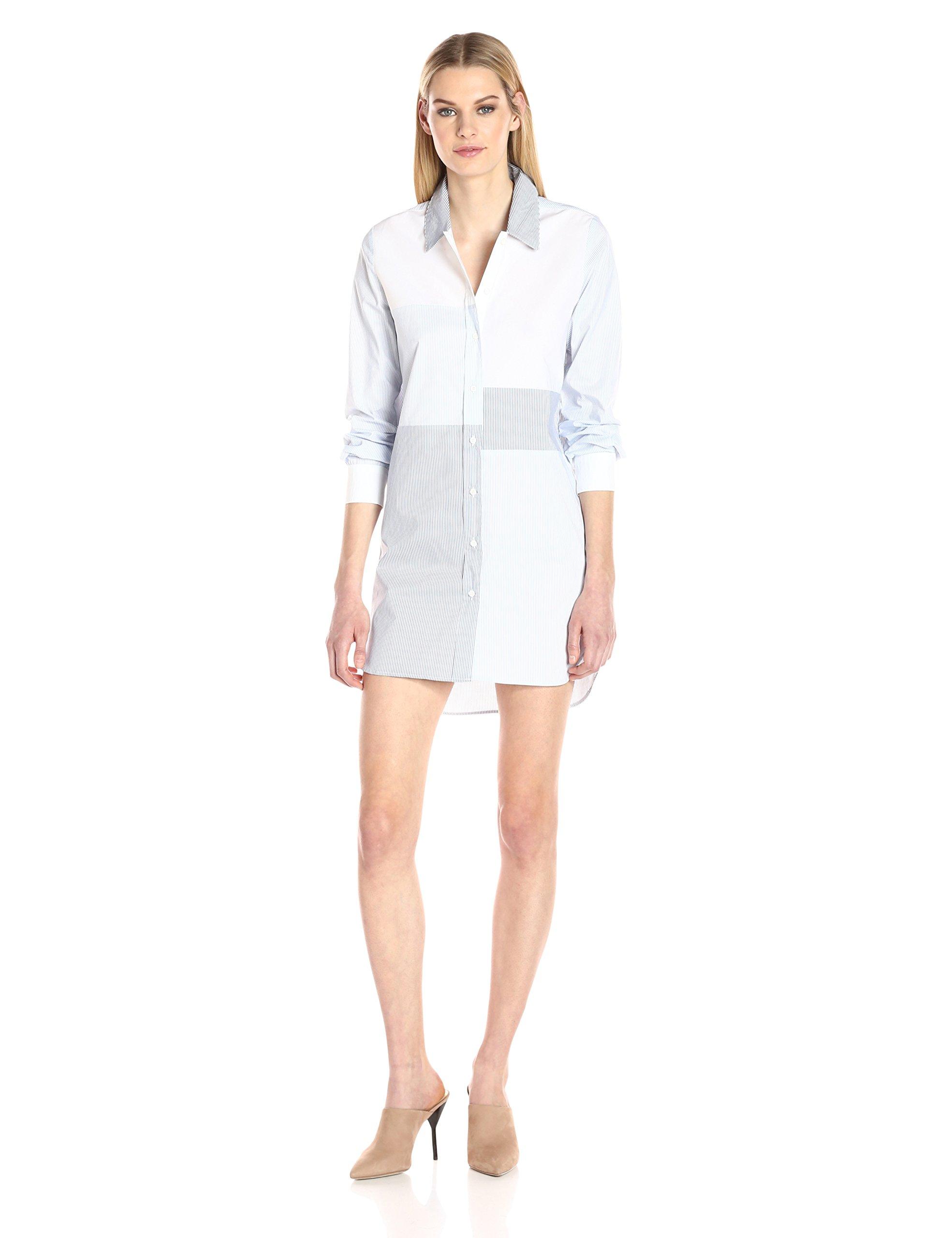 French Connection Women's City Stripe Dress, Meru Blue/Summer White, 0