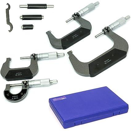 4 tlg Bügelmessschrauben Satz Mikrometer Justierschlüssel Messschraube Set DE