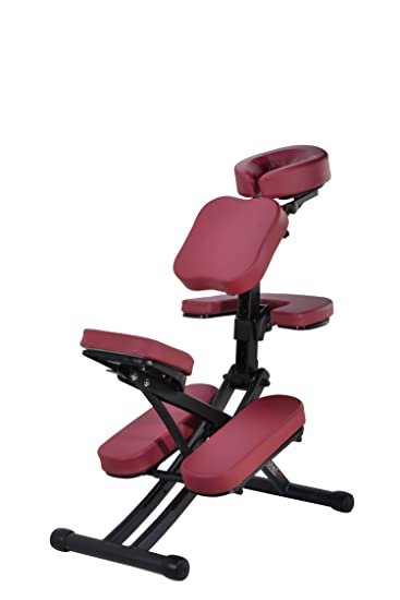 Rio Portable Folding Massage Chair For Spa Tattoo W/ Rolling Case (Burgundy)