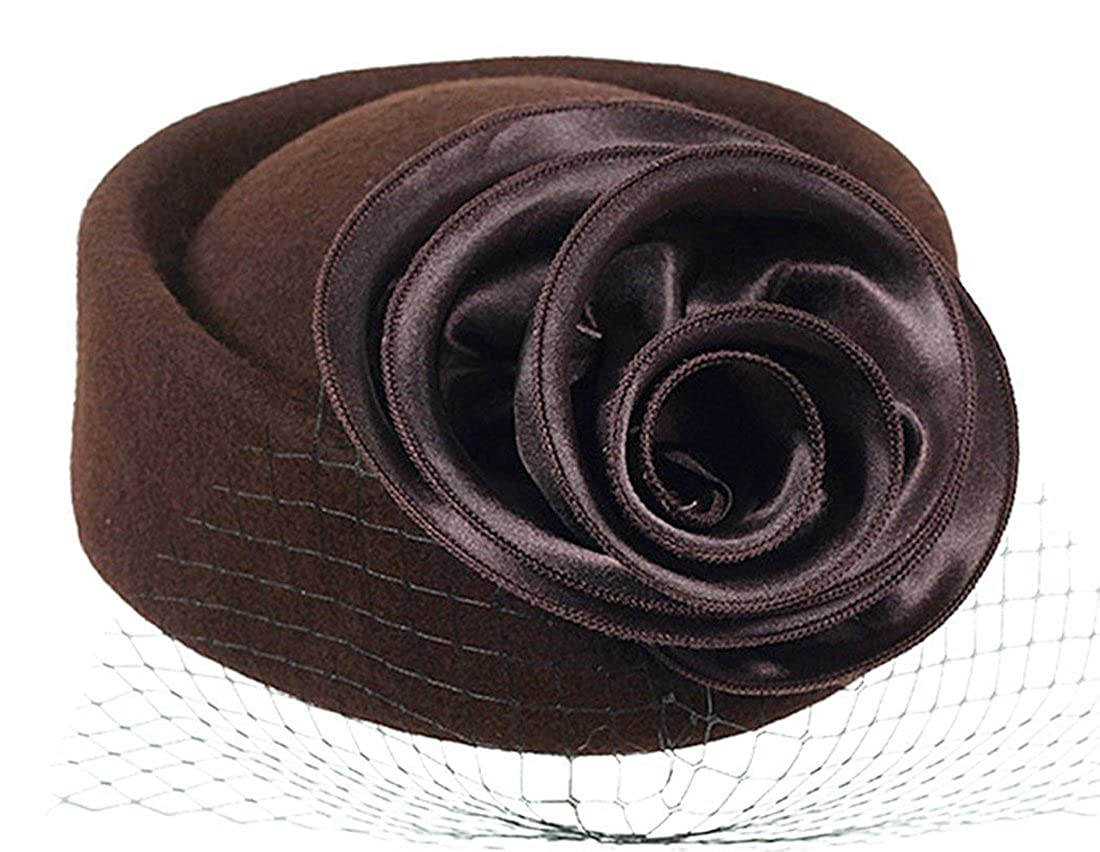 Fascinator Pillbox Hat Beret Wool Cocktail Wedding Tea Party Derby Hat for Women Generic