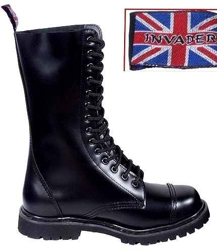 8a3895cd8a0378 Mil-Tec - Invader 14 Loch Stiefel Boots Schwarz Stahlkappe Leder Schuhe  Ranger