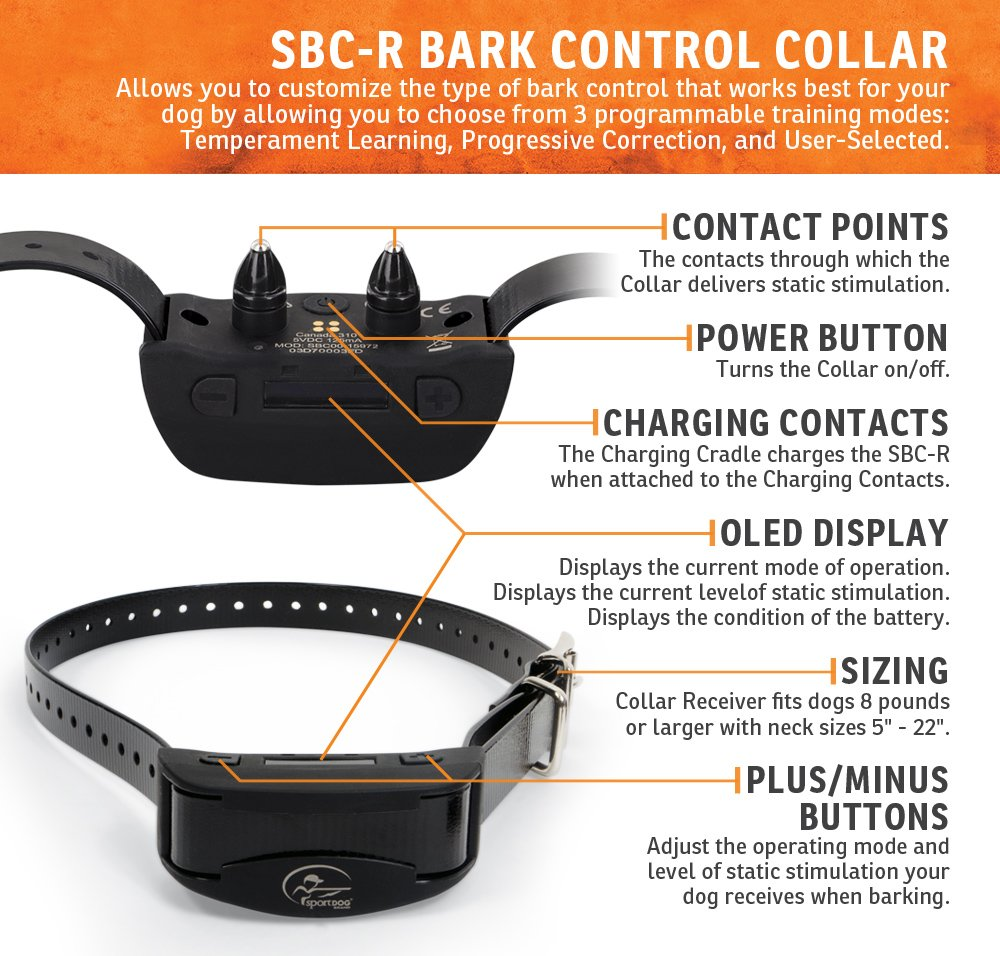 SportDOG Brand NoBark Rechargeable Bark Control Collar - Programmable, Waterproof Bark Collar