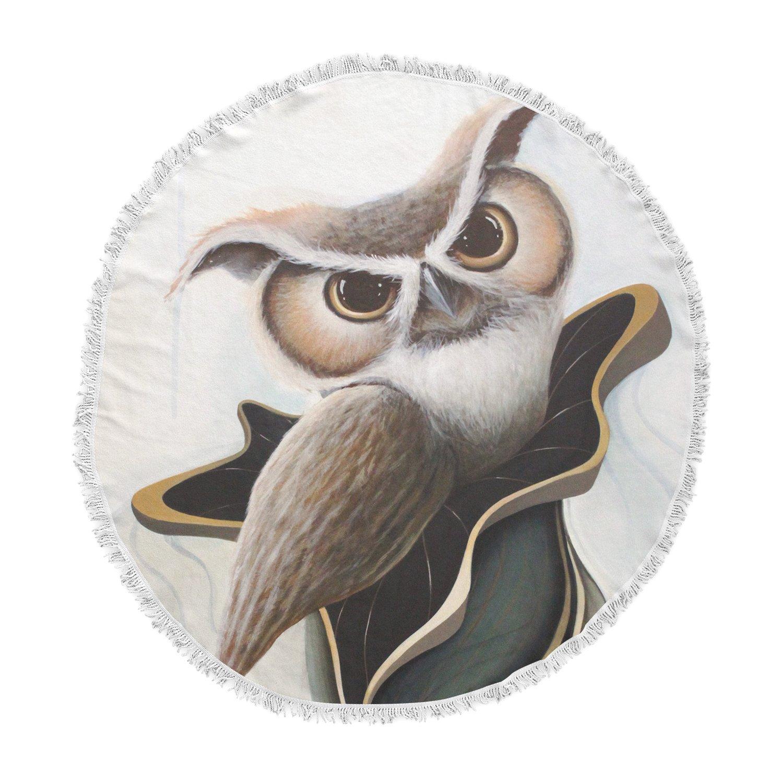 Kess InHouse Graham Curran Lucid June Brown Owl Round Beach Towel Blanket