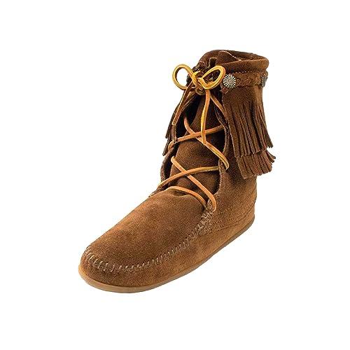 Minnetonka - Mocasines de Piel para mujer dusty brn: Amazon.es: Zapatos y complementos