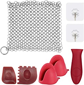 Cast Iron Cleaner,Sonku 6 Inch Stainless Steel Chainmail Scrubber Cleaning Kit for Skillets Pot Iron Pan Wok with Silicone Hot Handle Holder Wall Hook Scraper and Silicone Gloves(8 Pcs in Total)