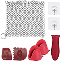 Cast Iron Cleaner,Sonku 6 Inch Stainless Steel Chainmail Scrubber Cleaning Kit for Skillets Pot Iron Pan Wok with Silicone Hot Handle Holder Wall Hook Scraper (8 Pcs in Total)