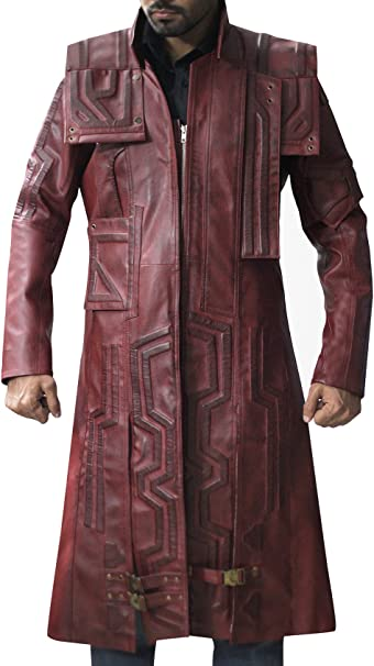 GUARDIANS OF THE GALAXY STAR LORD CHRIS PRATT MAROON LEATHER TRENCH COAT FOR MEN