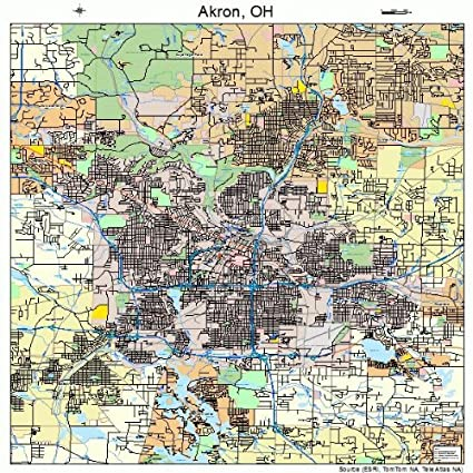 Amazon Com Large Street Road Map Of Akron Ohio Oh Printed