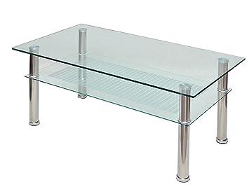 ts-ideen - Mesa auxiliar (cristal y acero inoxidable, 110 x 60 cm, vidrio templado de 10 mm)