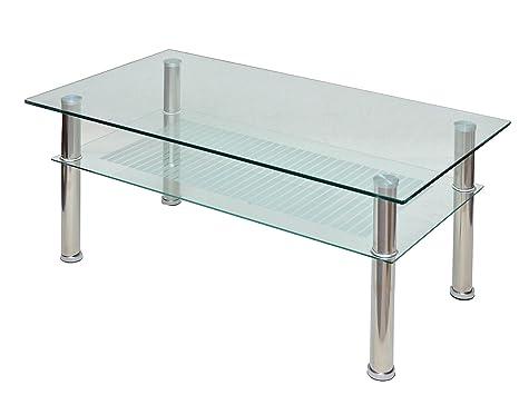Tavolini In Vetro E Acciaio : Ts ideen tavolino da soggiorno in vetro di sicurezza monolastra