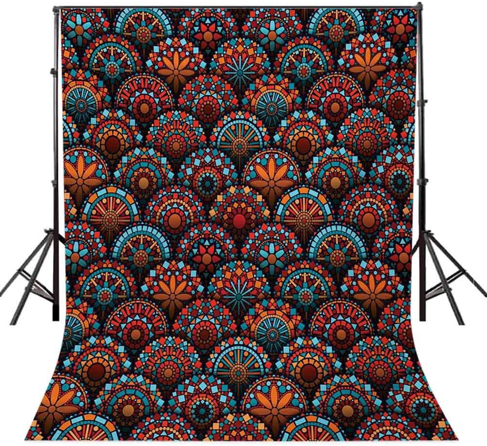 10x12 FT Photo Backdrops,Spiritual Pattern with Arabesque and Geometric Floral Form Art Image Background for Photography Kids Adult Photo Booth Video Shoot Vinyl Studio Props Scarlet Blue and Orange