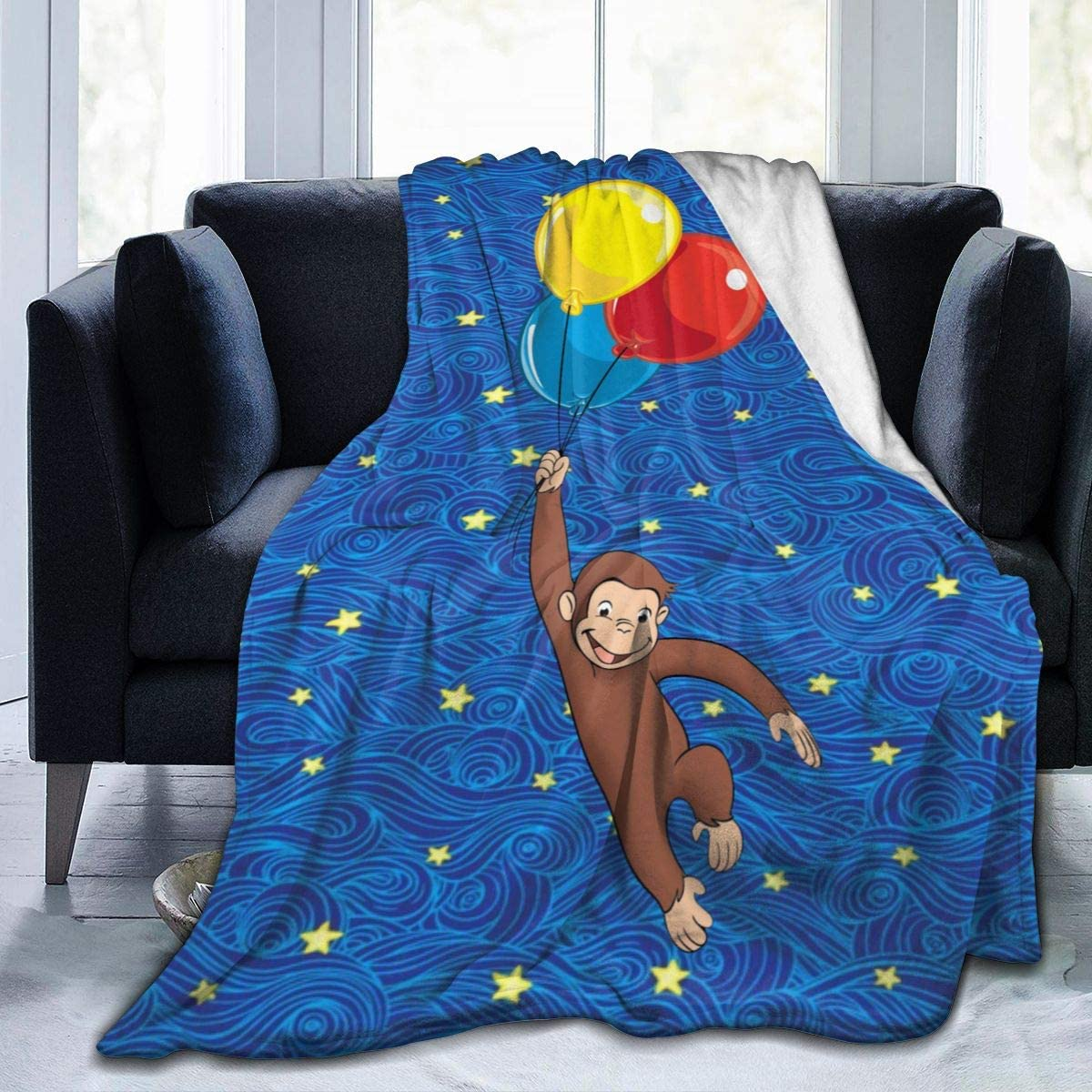 EVA GIBBONS Curious Monkey Throw Blanket Ultra Soft Bedspread Microfiber Fleece Blanket Durable Home Decor Perfect for Couch Sofa Beds (Curious Monkey, Medium 60x50 in for Teens)