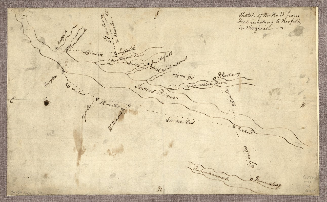 Historic Map | 1781 Sketch of the road from Fredericksburg to Norfolk in Virginia | Antique Vintage Reproduction