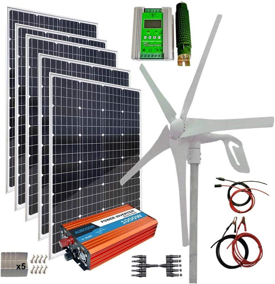 Solar Charge Regulator 120W Monocrystalline Flexible Solar Panel Extension Cables Wind Controller 220W Wind Solar Kit Hybrid System: 100W Wind Turbine Generator