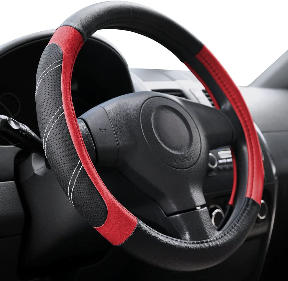 Carbon Fiber Synthetic Leather Steering Wheel Cover Medium in Gray//Black