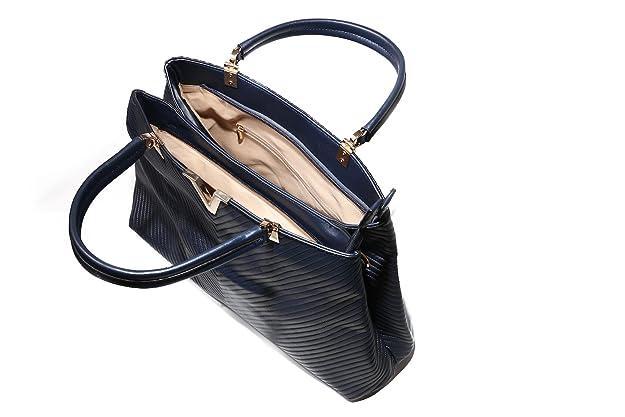 Women's Faux V Lined Elegant Fashion Handbag (43L X 28H X 13W, NAVY):  Amazon.co.uk: Shoes & Bags