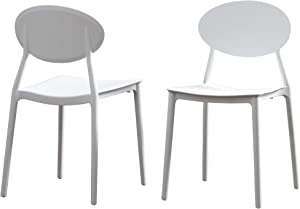 Great Deal Furniture Brynn Outdoor Plastic Chairs (Set of 2), White