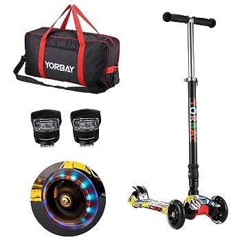 Yorbay Patinete Scooter Freestyle Plegable Rueda de LED Máx.Carga 60kg con 2X Luces de la Rana y Bolsa de Transporte