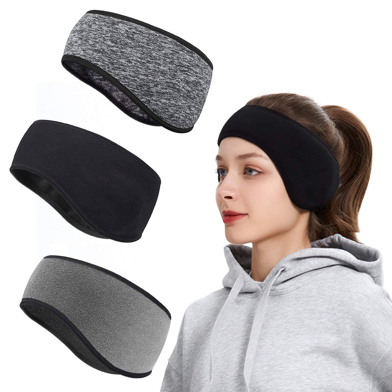Roysmart Winter Ear Warmers Headband, Stretchy Yoga Headband Gym Sport Headband Thermal Ear Muffs Ski Headband Moisture Wicking for Women Man (3 Pack)