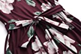 Zattcas Womens 3/4 Sleeve Floral Print Faux Wrap