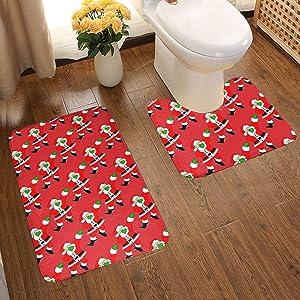 Soft And Cozy 1 Tub Shower Bath Rug + 1 U-Shaped Bath Rug, Memory Foam 2 Pc Bathroom Rug Shag for Bath Tub, Dabbing Santa Claus Christmas Dab Dance Xmas Red Bathroom Carpet, Machine Wash & Dry