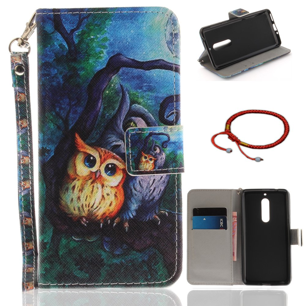 GOCDLJ Cell Phone Case for Nokia 5 Cell Phone Slim Protective Case Pattern, Nokia 5 Ultrathin PU Leather Flip Cover, Anti Scratch Bumper Cover Wallet Fully Protective Build in Stand Function Folio Book Style with Lanyard Strap Magnetic Holder Cash Pocket