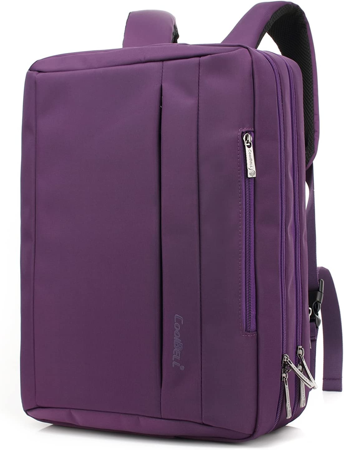 CoolBELL 15.6 Inches Convertible Laptop Messenger Bag Oxford Cloth Shoulder Bag Backpack Multi-Functional Briefcase for Laptop/MacBook/Tablet Women (Purple)
