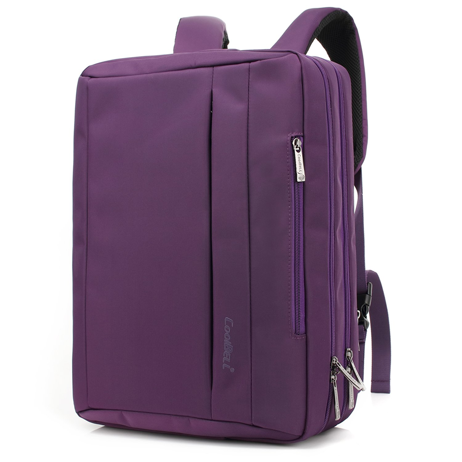 CoolBELL 17.3 inches Convertible Laptop Messenger Bag Oxford Cloth Shoulder Bag Backpack Multi-Functional Briefcase for Laptop/MacBook / Tablet Women (Purple)