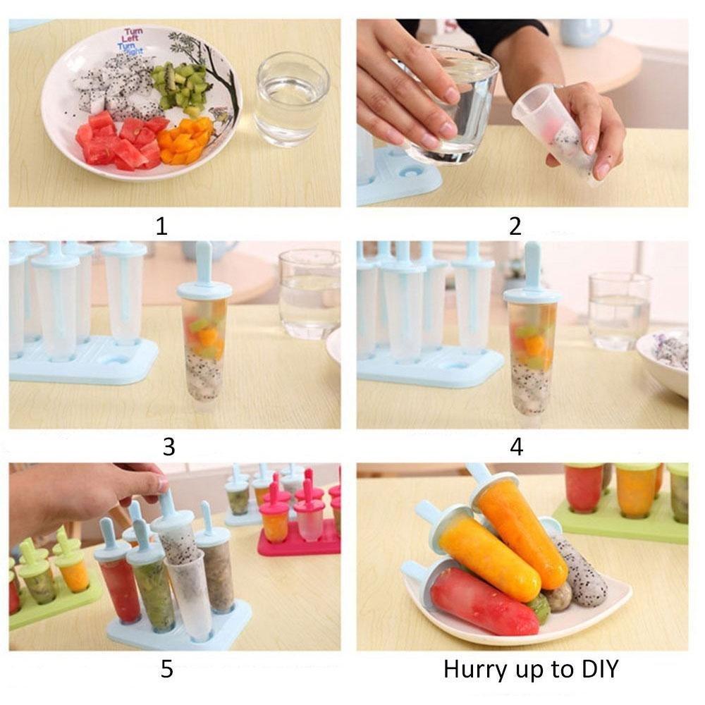 Leegoal Moldes de plástico sin BPA para helado, juego de 6 moldes reutilizables mini para hacer helados Frozen Yogurt Snacks postres (pequeño, verde)