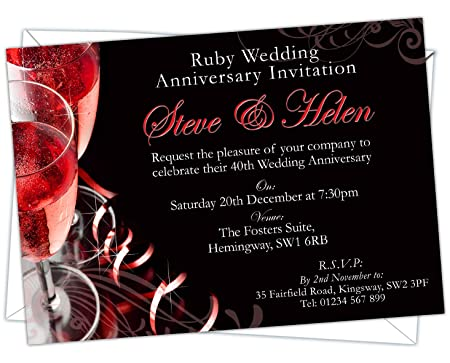 Design Code Rwa 002 Personalised Ruby Wedding 40th