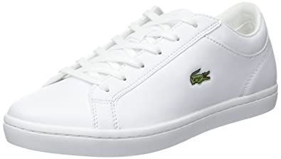 Lacoste Women s Straightset BL 1 Leather Lace Up Trainer White-White-3 f8a3ae345