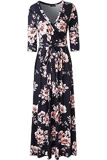 a022c31207d9f Zattcas Womens 3 4 Sleeve Floral Print Faux Wrap Long Maxi Dress with Belt