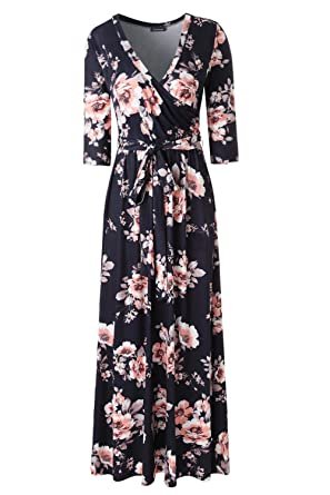 a3c532235e04 Zattcas Womens 3 4 Sleeve Floral Print Faux Wrap Long Maxi Dress with Belt (