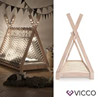Vicco Kinderbett TIPI Kinderhaus Indianer Zelt Bett Kinder Holz Haus Schlafen Spielbett Hausbett 80x160