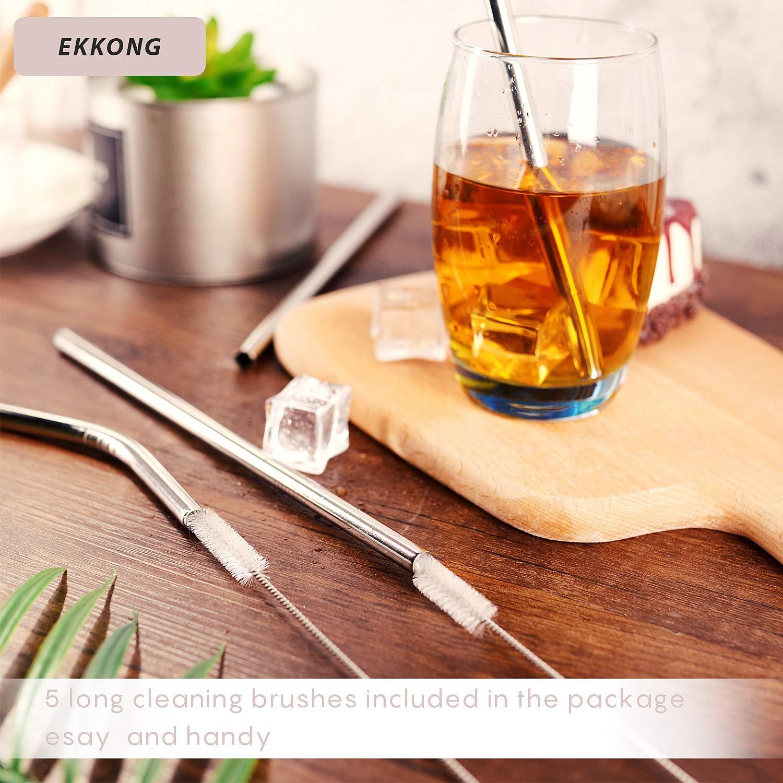 5 Droites//5 Courb/é//5 brosses de Nettoyage EKKONG Paille INOX Reutilisable 15 Pcs Pailles M/étal pour Jar Mug pour Milkshake Caf/é