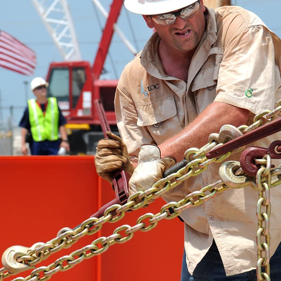 3//8 Inch x 25 Foot 6,600 Pound Safe Working Load VULCAN Grade 70 Binder Chain with Clevis Grab Hooks
