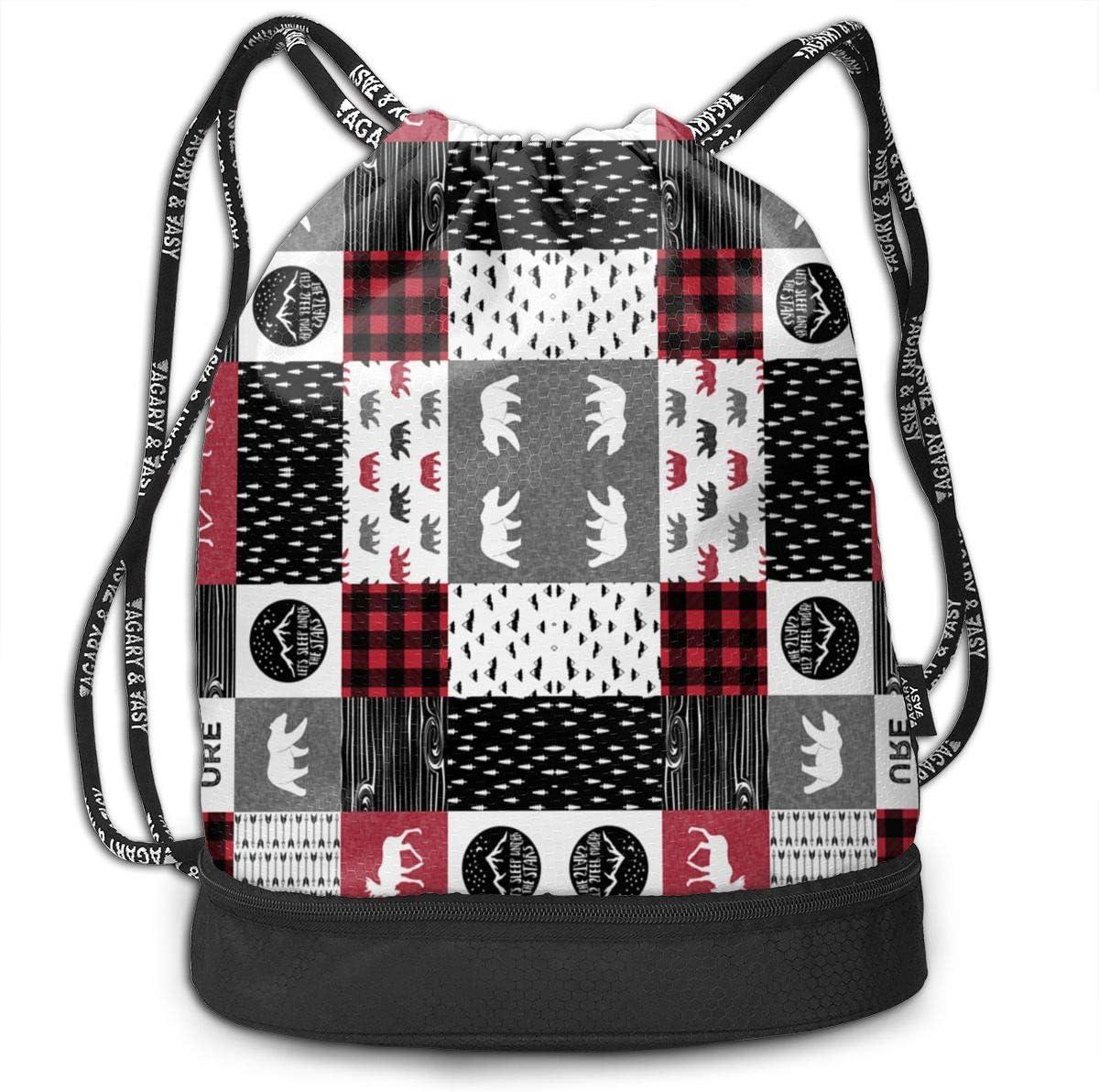 HUOPR5Q Black and White Plaid Drawstring Backpack Sport Gym Sack Shoulder Bulk Bag Dance Bag for School Travel