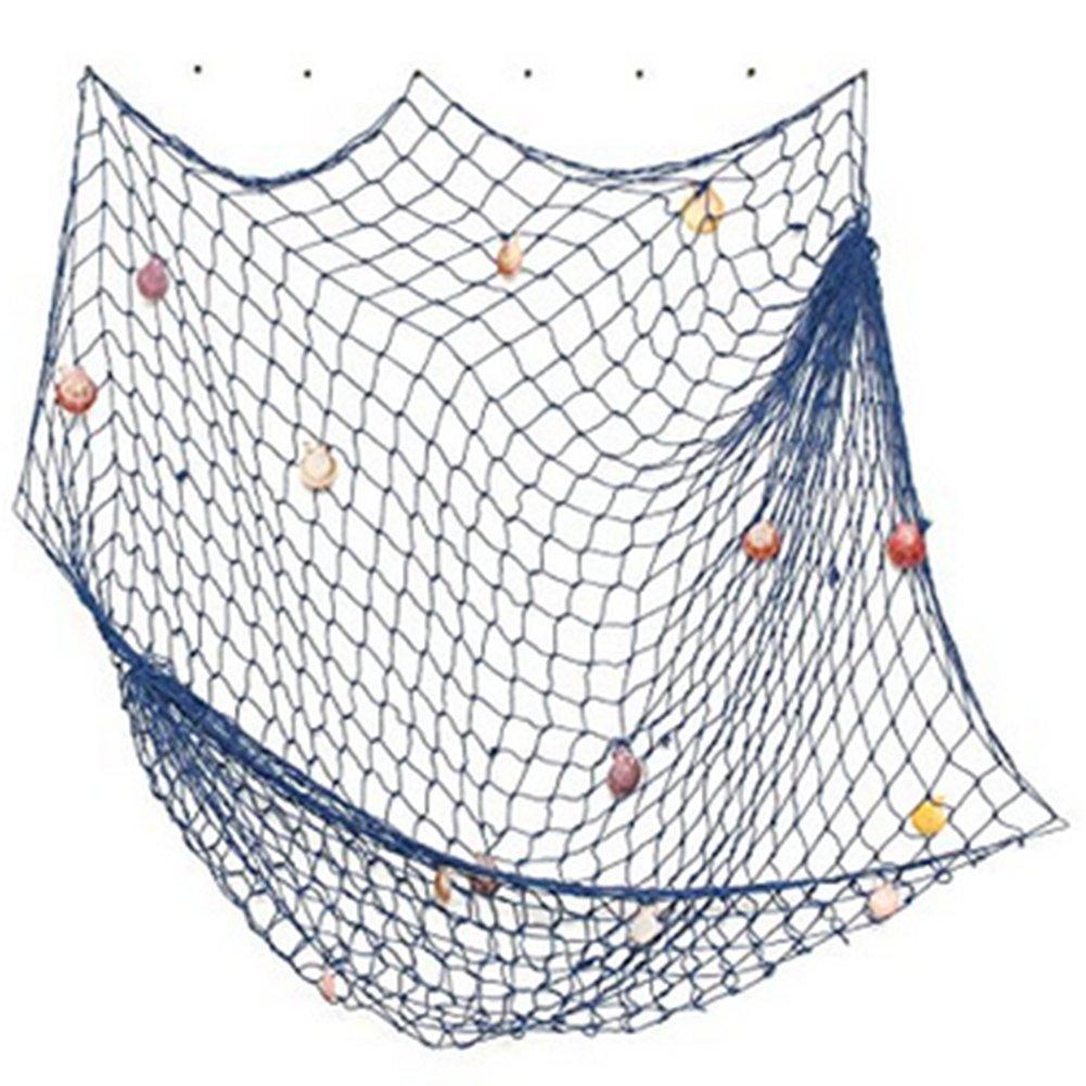 Red de Pesca Decorativa con Conchas Decorativas para Colgar en la Pared fotograf/ía y Restaurante Color Azul Fiesta Fablcrew dise/ño mediterr/áneo para casa
