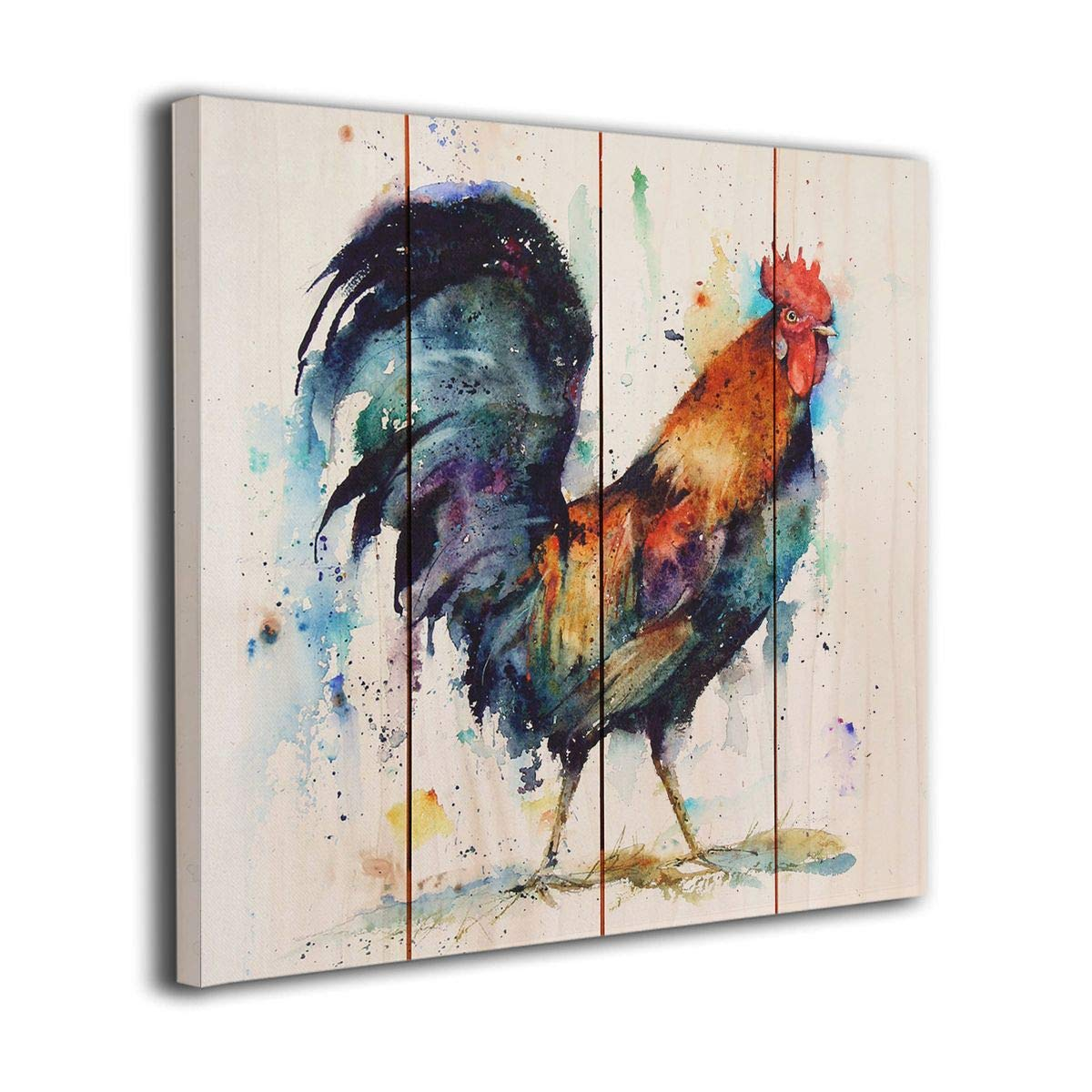 Amazon com bli watercolor rooster picture on canvas painting for