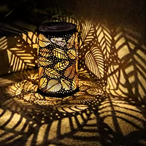 Outdoor Solar Lanterns Light, Outdoor Hanging Light - Patio Decorations Lights Garden Decor Outside Lights,Outside Patio Leaf Light
