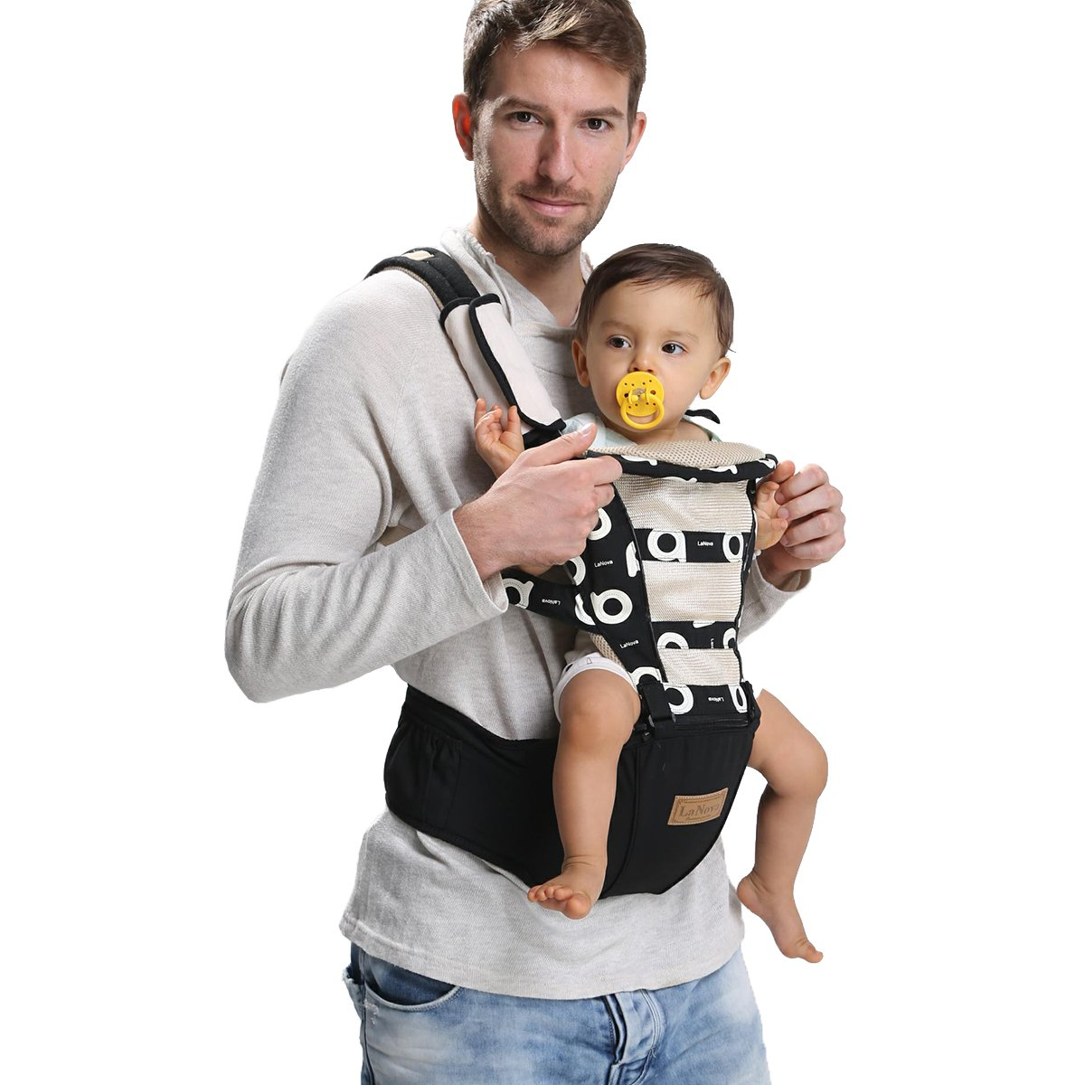 4e461150243b LaNova Ergonomic Baby Carrier Backpack with Hip Seat Front and Back for  Women and Men 6...