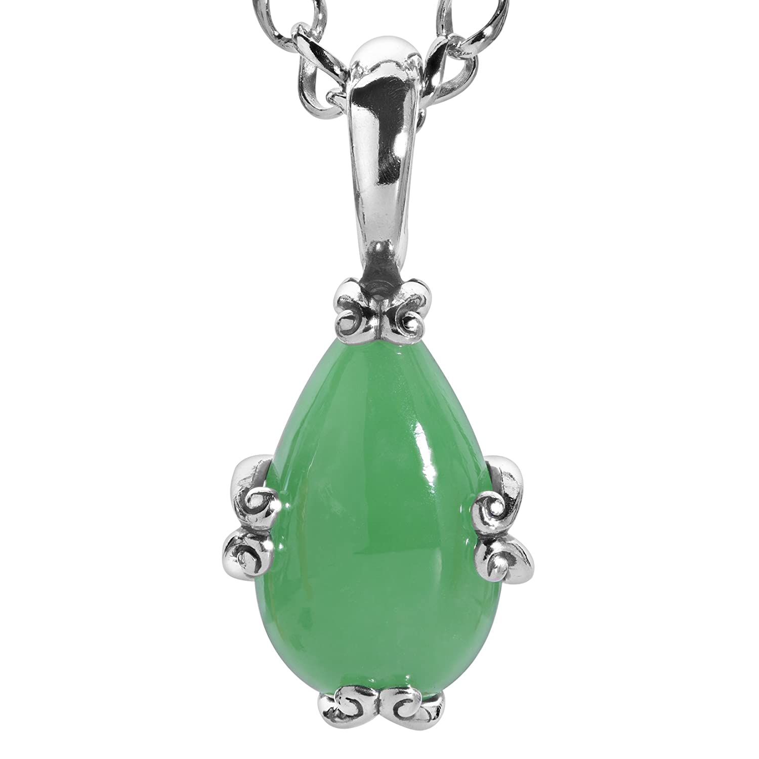 Carolyn Pollack Sterling Silver Green Blue or Pink Jade Gemstone Pear-Shape Pendant Necklace 17 Inch