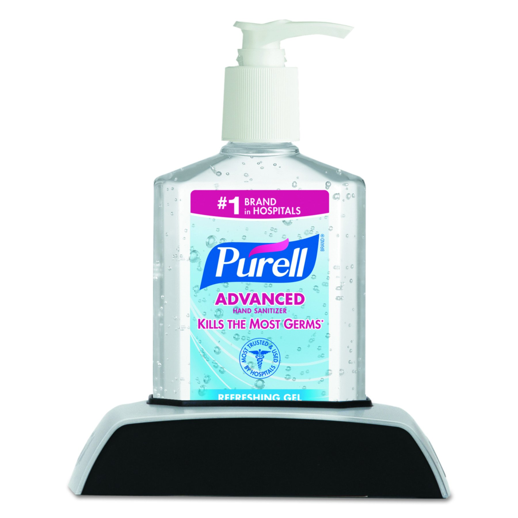 PURELL Advanced Hand Sanitizer Gel with PURELL CLASSIC HOLDER Caddy, 1 – 8 fl oz Sanitizer Counter Top Pump Bottle + 1 – PURELL CLASSIC HOLDER Caddy (Case of 12) – 9614-12
