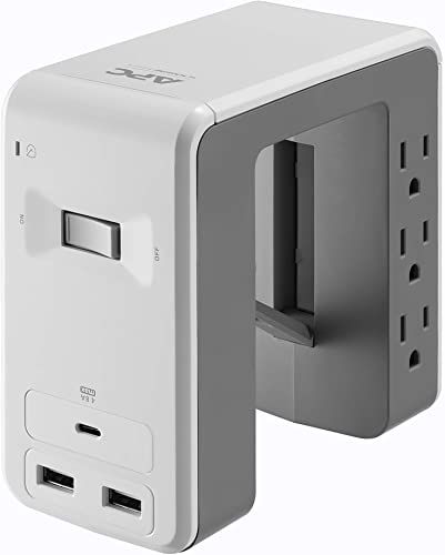 APC Desk Mount Power Station PE6U21W, U-Shaped Surge Protector with USB Ports 3 , Desk Clamp, 6 Outlet, 1080 Joules