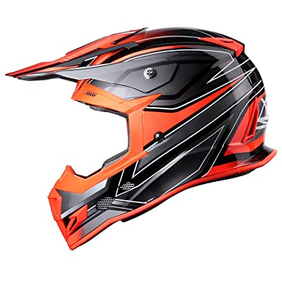 GLX Unisex-Adult GX23 Dirt Bike Off-Road Motocross ATV Motorcycle Helmet for Men Women, DOT Approved (Sear Orange, X-Large): Automotive